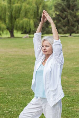 best ager women practising yoga and tai chi outdoors photo