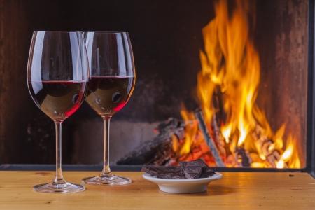 red wine with dark chocolate photo