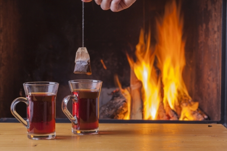warm drink: teatime at the fireplace