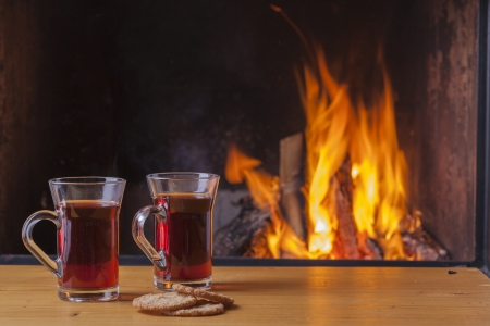 teatime at the fireplace