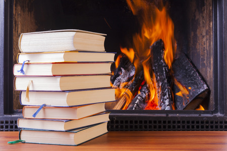 reading   learning at warm fireplace in winter photo