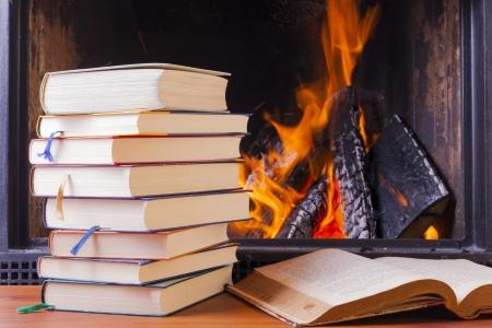 Lesen Lernen am warmen Kamin im Winter Lizenzfreie Bilder