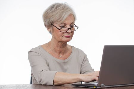 computer isolated: confident neat senior woman various situations at home