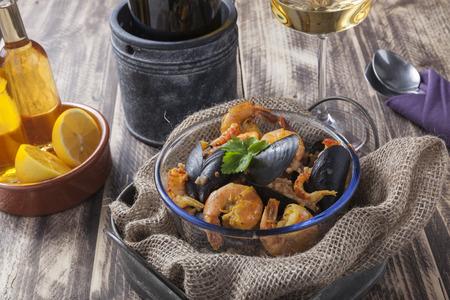 portugese: arroz de marisco portugese paella seafood rustic classic curry rice summer dish Stock Photo