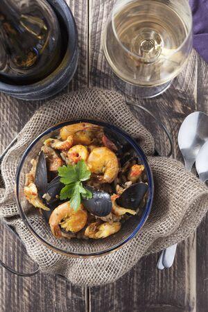 timeless: arroz de marisco portugese paella seafood rustic classic curry rice summer dish Stock Photo