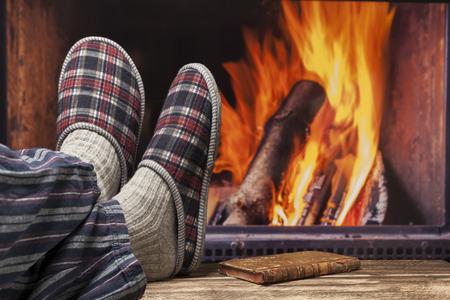 fireplace relax winter fall autumn  rustic dark wooden floor dark pyjama