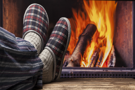 pyjama: fireplace relax winter fall autumn  rustic dark wooden floor dark pyjama