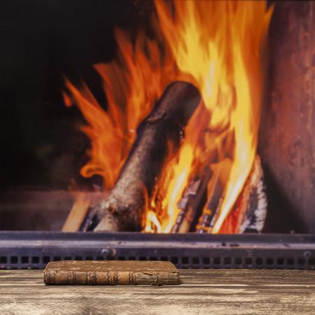 fall winter: fireplace relax winter fall autumn  rustic dark wooden floor Stock Photo