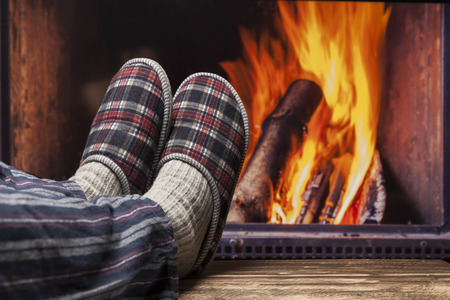 fireplace relax winter fall autumn  rustic dark wooden floor dark pyjama