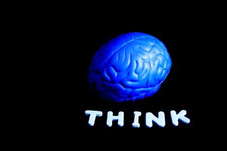 blue brain think side view Banco de Imagens