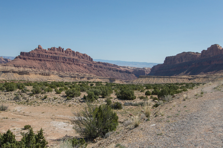 canyons: utah desert canyons scenic lookout on a sunny day Stock Photo