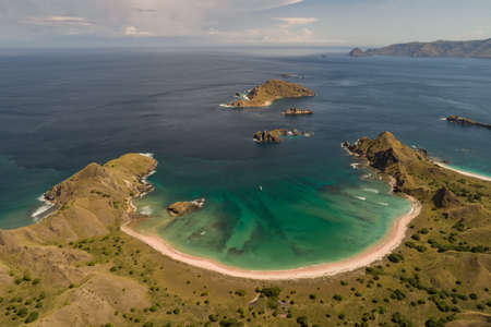 Wild islands of Indonesia.Flores tropical paradise. Labuan Bajo. drone aerial