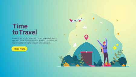 backpacker travel adventure concept. outdoor vacation recreation in nature theme of hiking, climbing and trekking with people character. template for landing page, banner, poster, ad or print media.