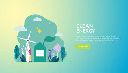 green clean energy sources. renewable electric sun solar panel and wind turbines. environmental concept with people character. web landing page template, banner, presentation, social, and print media