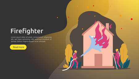 Firefighter using water spray from hose for fire fighting burning house. fireman in uniform, fire department rescuer. illustration for web landing page, banner, presentation, promotion or print media 일러스트