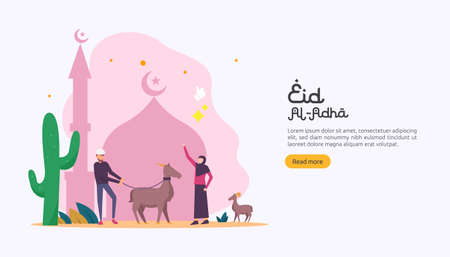 islamic design illustration concept for Happy eid al adha or sacrifice celebration event with people character for web landing page, banner, presentation, poster, ad, promotion or print media.