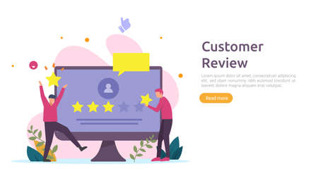 Costumer review rating concept. people character giving feedback evaluation. satisfaction level and critic support with smartphone for web landing page, social, poster, ad, promotion or print media