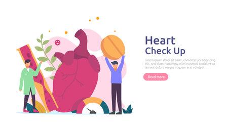 Heart health, disease, cardiology concept with character. hypertension symptoms & cholesterol blood pressure measurement. Medical examination doctor checkup services for healthcare and transplantation Vektoros illusztráció