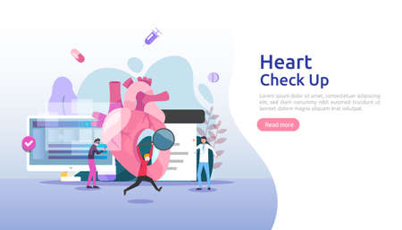 Heart health, disease, cardiology concept with character. hypertension symptoms & cholesterol blood pressure measurement. Medical examination doctor checkup services for healthcare and transplantation