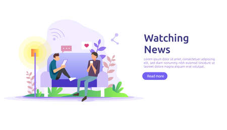 watching TV daily news vector illustration concept with people character. template for web landing page, banner, presentation, social, poster, ad, promotion or print media.