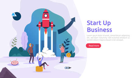 start up service or new product idea launch concept. project business with rocket tiny people character. template for web landing page, banner, presentation, social, print media. Vector illustration Vetores