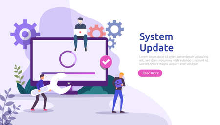 operation system update progress concept. data synchronize process and installation program. illustration web landing page template, banner, presentation, UI, poster, ad, promotion or print media.