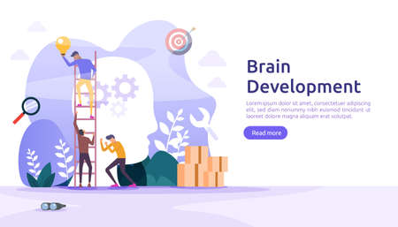 illustration flat design of thinking creative, brain development and mental rest with people character. template for web landing page, banner, presentation, social, poster, promotion or print media