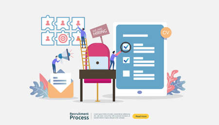 Job hiring, online recruitment concept. empty chair people character. agency interview. select resume process. template for web landing page, banner, presentation, social media. Vector illustration. Ilustracje wektorowe