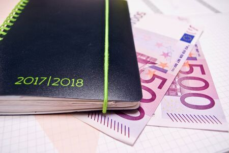 500 Euro Banknotes with Business Calendar 2017 2018