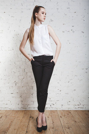 full-length fashion girl posing on white background Stock Photo