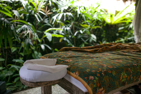Outdoor bath around tropic greenery for relax.Spa,organic and sk Stock Photo
