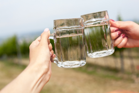 Two glasses of white wine and soda spritzer. Clink glasses by female hands on backgrounds of grapes leaves in Heuriger tavern Austria, where a local winemaker serves his new wine.