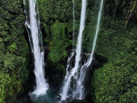 Aerial view of Sekumpul waterfall on Bali island Indonesia - travel and nature background. Drone photo Imagens