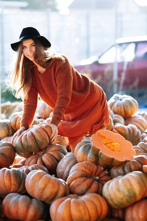 Portrait of happy woman choosing ripe orange pumpkin on farmers market in brown sweater, dress. Cozy autumn vibes Halloween, Thanksgiving day.