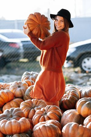 Female hands holding orange pumpkin on background of farmers market in brown sweater. Cozy autumn vibes Halloween party, Thanksgiving day 版權商用圖片