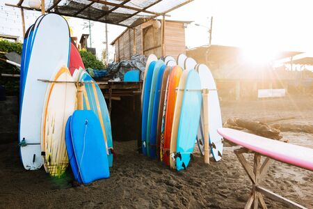 Set of different color surf boards in a stack by ocean.Bali.Indonesia. Surf boards on sandy beach for rent. Surf lessons on Canggu beach