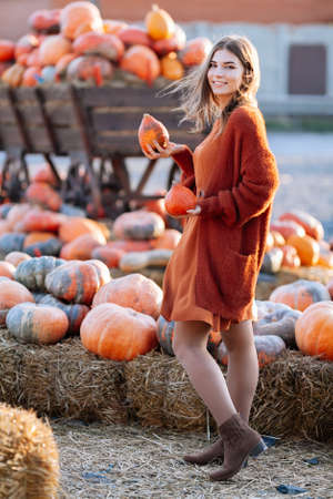 Portrait of happy woman has fun with ripe orange pumpkins in hands near wagon on farmers market in brown sweater, dress. Cozy autumn vibes Halloween, Thanksgiving day Imagens