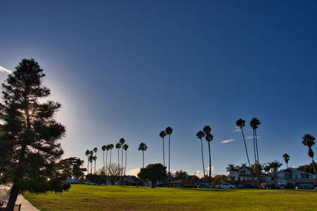 Surfing at sunset on the Santa Barbara Mesa Stock Photo