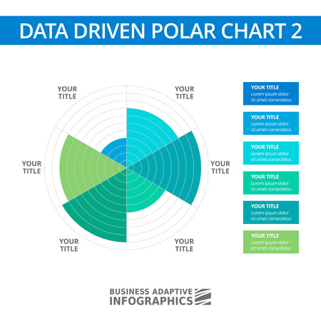 driven: Editable infographic template of data driven polar chart Illustration