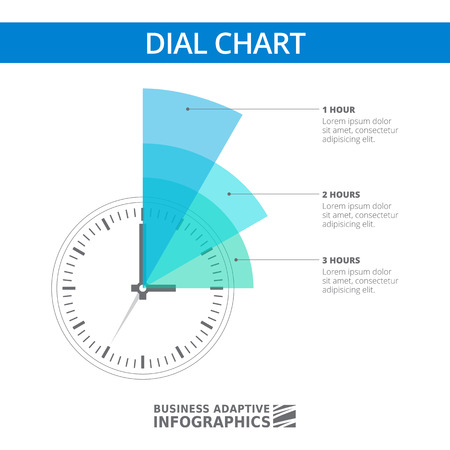 information management: Multicolored editable infographic template of dial chart