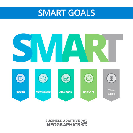 smart goals: Multicolored concept of SMART goals setting strategy