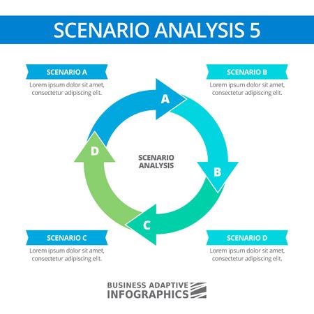 scenario: Editable infographic template of scenario analysis round diagram