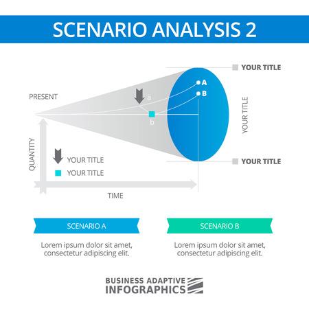 scenario: Editable infographic template of scenario analysis diagram