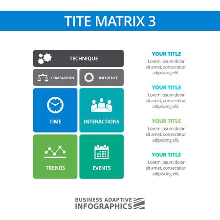 Multicolored editable template of TITE matrix diagram
