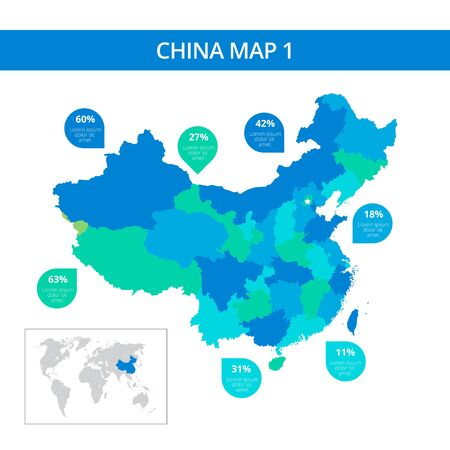 prc: Editable template of detailed map of China with percent marks and China silhouette on world map, isolated on white