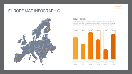 sample text: Editable template of detailed Europe countries map with map pointers, bar chart and sample text