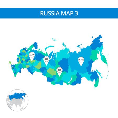 russian  russia: Editable template of detailed map of Russia with map pointers and Russia silhouette on world map, isolated on white Illustration