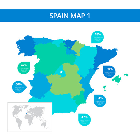 kingdom of spain: Editable template of detailed map of Spain with percent marks and country silhouette on world map, isolated on white