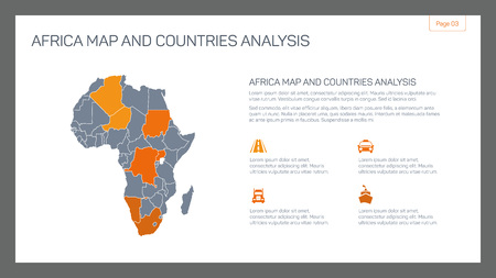 sample text: Editable infographic template of Africa map and countries analysis with and sample text