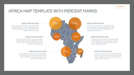 sample text: Editable infographic template of Africa map with percent marks and sample text